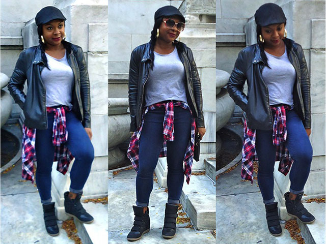 Outfit of the Day, Casually on the Go, Plaid, Sneaker Wedges, Yanni's Style, Fashion, Style Inspiration, Target, Forever21, Aldo Accessories, Joe Fresh, Nasty Gal, NARS Cosmetics, Fall