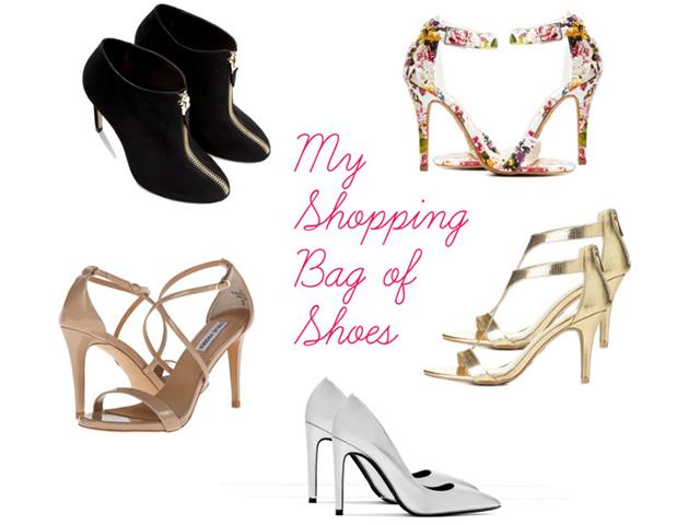 Fashion Talk, My Shopping Bag, Shoes, Zara, Charlotte Russe, Steve Madden, 6pm.com, Silver, Gold, Floral, Black, Blush, Sales, Deals, Steals, Style