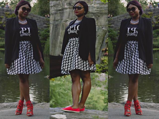 NYFW, Fashion, Style, OOTD, WIW, Aldos, Express, HM, NastyGal, OutfitoftheDay, Prints, Red, Black, White